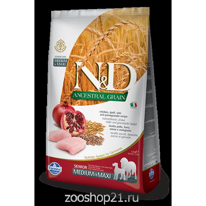 Корм Farmina N&D (Low Grain) Chicken & Pomegranate Senior Medium/Maxi для пожилых собак средних и крупных пород с низким содержанием зерна курица с гранатом, 12 кг